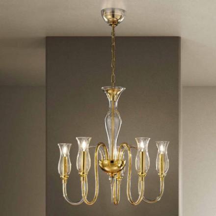 Lustre 5 lumières fait main en Italie en verre vénitien - Vittoria