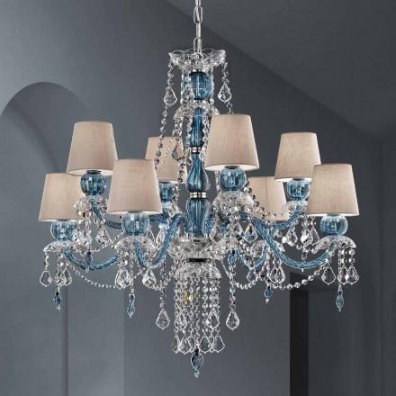 Lustre à 8 lumières en verre vénitien fait à la main, fabriqué en Italie - Milagros