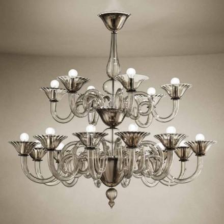 Lustre artisanal à 18 lumières en verre de Venise, fabriqué en Italie - Margherita