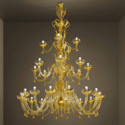 Lustre artisanal avec 28 lumières en verre vénitien et or fabriqué en Italie - Regina