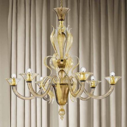 Lustre en verre vénitien à 6 lumières artisanal fabriqué en Italie - Agustina