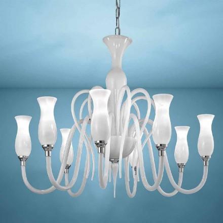 Lustre en verre vénitien à 8 lumières Artisan, fabriqué en Italie - Vittoria