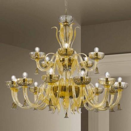 Lustre artisanal à 18 lumières en verre de Venise, fabriqué en Italie - Regina