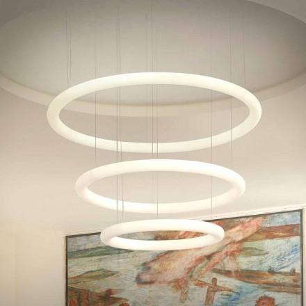 Lustre design LED blanc avec rosace en métal Made in Italy - Slide Giotto