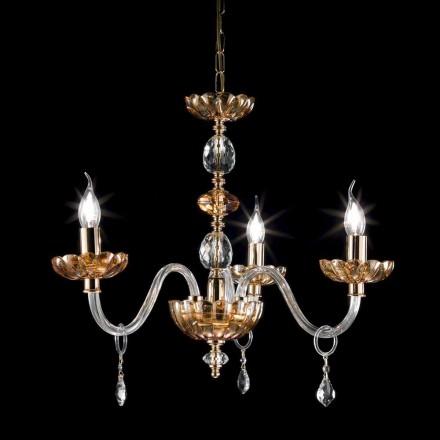 Lustre 3 lumières en cristal et verre Belle, de style classique