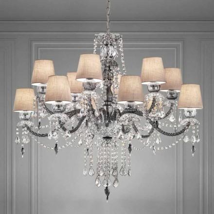 Lustre artisanal en verre vénitien à 12 lumières, fabriqué en Italie - Milagros
