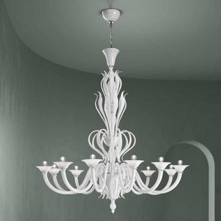 Lustre en verre de Venise à 12 lumières fait à la main en Italie - Agustina