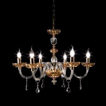 Lustre 6 lumières en verre et cristal Belle, de design classique