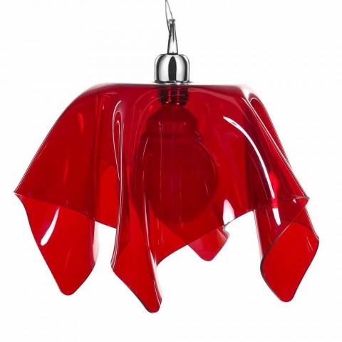 Lampe à suspension rouge transparente drapée Dafne, faite en Italie