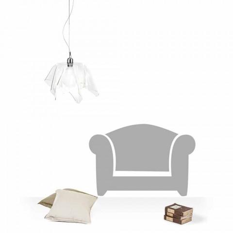Lampe à suspension transparente drapée Dafne, faite en Italie