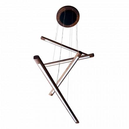 Lampe suspensions 4 barres en bois Grilli York faite en Italie
