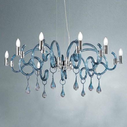 Lustre à 9 lumières fait main en verre vénitien fabriqué en Italie - Bernadette