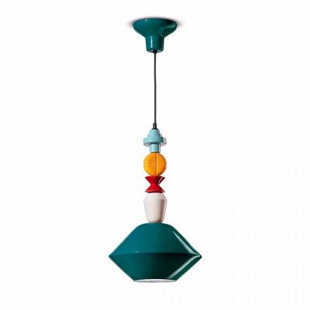 Lampe à suspension en céramique verte ou jaune fabriquée en Italie - Ferroluce Lariat