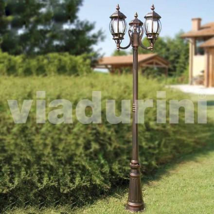 Lampadaire extérieur à trois lumières en aluminium, fabriqué en Italie, Anika
