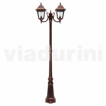 Lampadaire extérieur à deux lumières en aluminium fabriqué en Italie, Aquilina