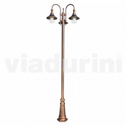 Lampadaire d'extérieur à trois lumières en aluminium, fabriqué en Italie, Anusca