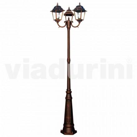 Lampadaire classique à trois lumières d'extérieur, fabriqué en Italie, Aquilina
