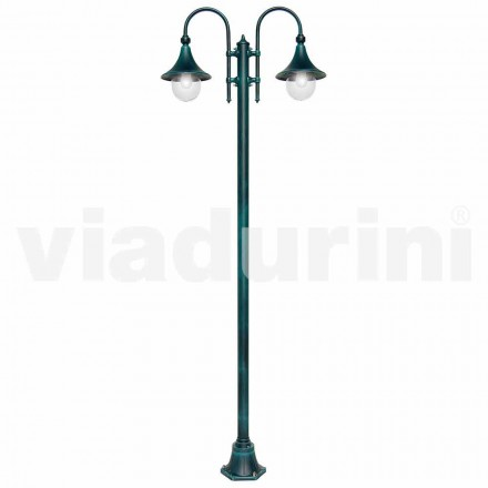 Lampadaire d'extérieur à deux lumières en aluminium moulé sous pression, fabriqué en Italie, Anusca