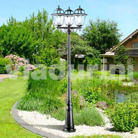Lampadaire de jardin classique à trois lumières en aluminium, Kristel