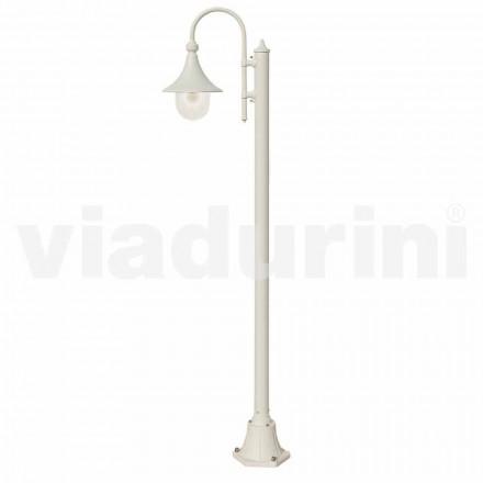 Lampadaire de jardin en aluminium moulé sous pression blanc, fabriqué en Italie, Anusca