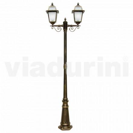 Lampadaire extérieur à deux ampoules en aluminium fabriqué en Italie, Kristel