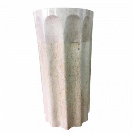 Lavabo à colonne Daisy couleur blanc, pierre naturelle, pièce unique