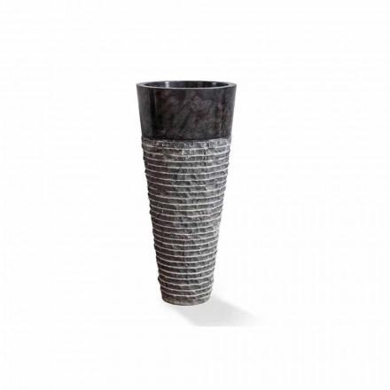 Lavabo à colonne de design moderne en marbre noir brillant - Merlo