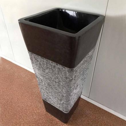 Lavabo à colonne gris foncé, pierre naturelle de design, pièce unique
