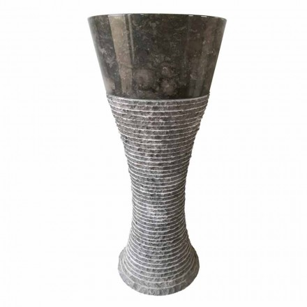 Lavabo à colonne en pierre naturelle gris foncé Fara, pièce unique