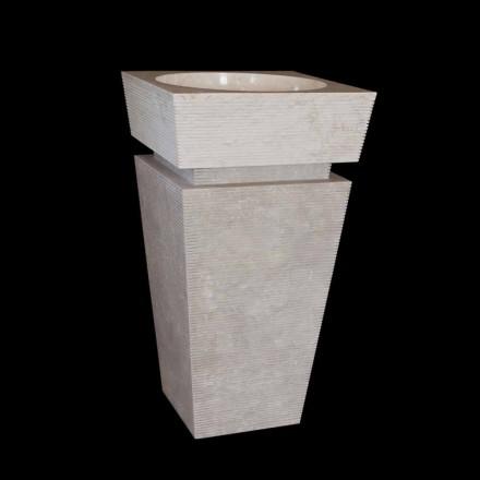 Lavabo sur colonne en pierre blanche Sire, fait à la main