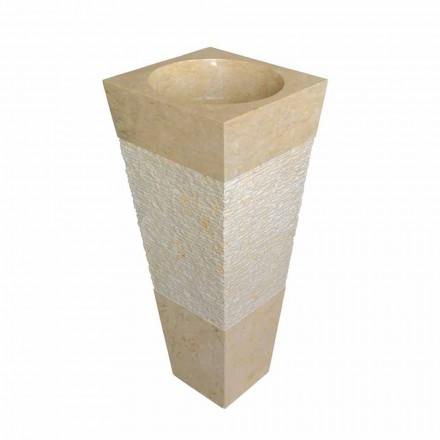Lavabo colonne pyramidal en pierre naturelle beige Nias