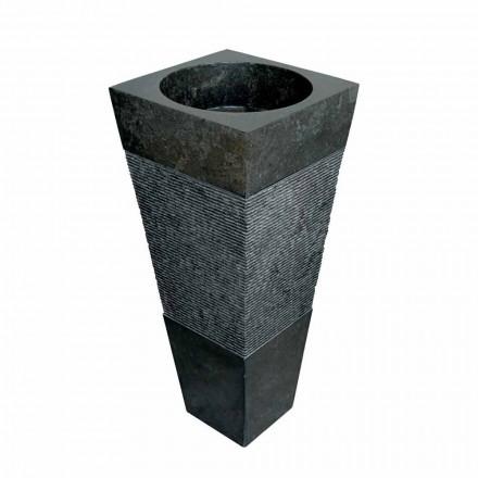 Lavabo colonne pyramidal en pierre naturelle noire Nias