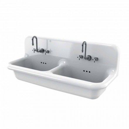 Lavabo double vasque en céramique blanche design vintage Andy