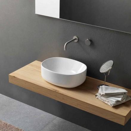 Lavabo à poser ovale de design moderne en céramique blanche - Ventori2