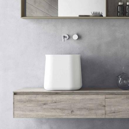 Lavabo à poser haut carré design moderne en résine blanche - Tulyp