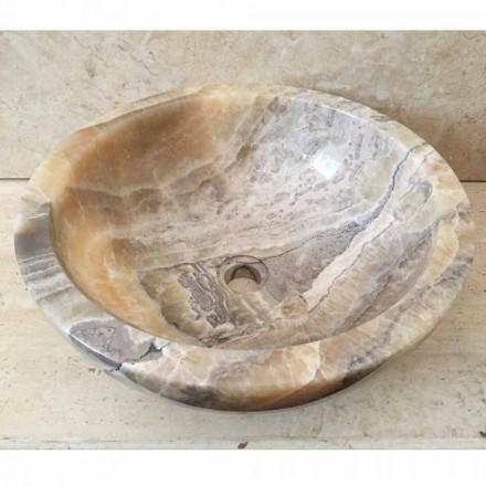 Lavabo bain d'appui en pierre onyx naturelle Ana, fait à main