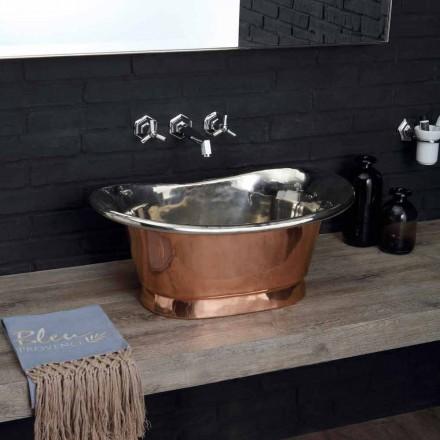 Vasque lavabo à poser en cuivre avec finition en fer blanc Calla