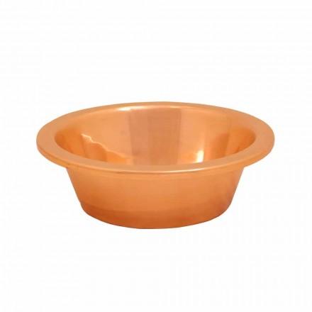 Vasque lavabo à poser en cuivre Sole, faite à la main