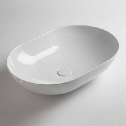 Vasque à poser ovale en céramique colorée Made in Italy - Chaîne