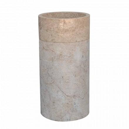 Lavabo de salle de bain sur pied en marbre finition ivoire de forme cylindrique - Cremino