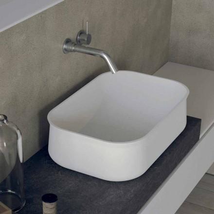 Lavabo de salle de bain rectangulaire blanc design moderne - Tulyp2