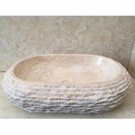 Lavabo couleur blanc d'appui ovale Cora, pièce unique fait à main