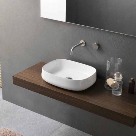 Vasque à poser en céramique blanche de design moderne fabriqué en Italie - Tune2