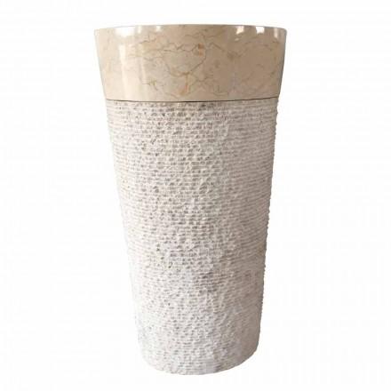 Lavabo blanc en pierre naturelle à colonne Siro design, pièce unique