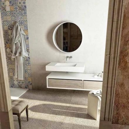 Plan vasque avec lavabo central de salle de bain Gemona, made in Italy
