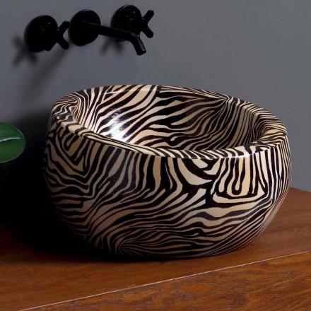 Lavabo à poser circulaire moderne en céramique fabriqué en Italie Elisa