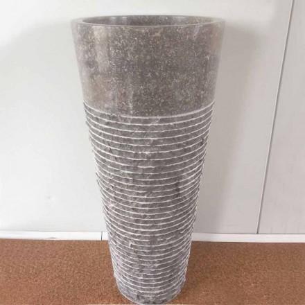 Lavabo conique à colonne en pierre naturelle Iga, pièce unique design