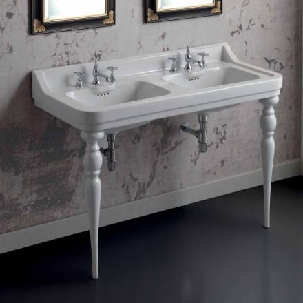 Lavabo console double vasque en céramique fabriqué en Italie Swami