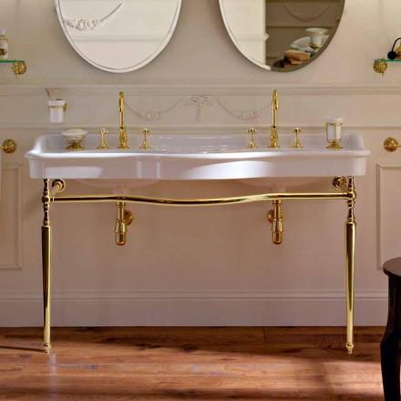 Lavabo Consolle avec double vasque sur pieds en céramique, fabriqué en Italie - Paulina