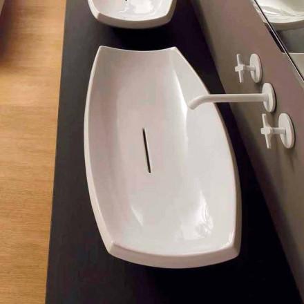 Lavabo d'appui céramique blanc de design moderne fait en Italie Laura